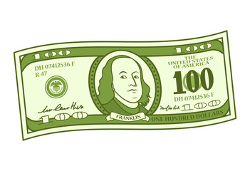 Cartoon 100 dollar bill with stylized Franklin portrait. Play money or fake banknote. Vector illustration.
