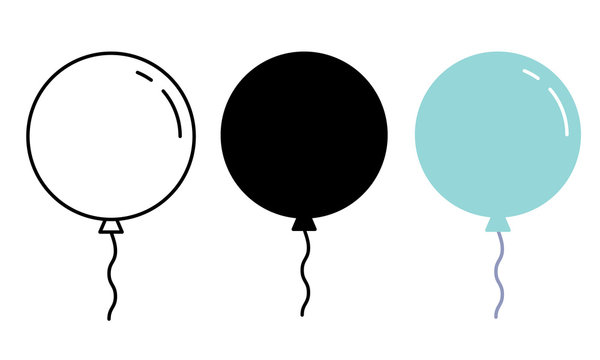 Air Balloon icon. Decorative design element. Outline, black and blue vector illustration.