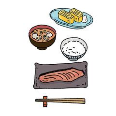 和食 イラスト 卵焼き 焼き鮭 手描き