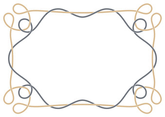 Vector frame made of intertwined two ropes over white background