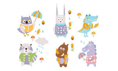 Wall Mural - Cute Forest Animals Set, Autumn Season Design Elements, Owl, Rabbit, Crocodile, Raccoon, Rhino, Dragon Vector Illustration