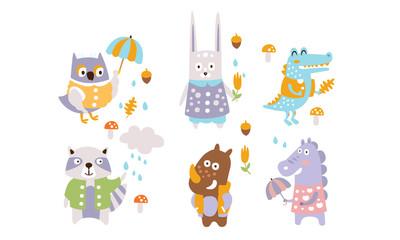 Fotomurales - Cute Forest Animals Set, Autumn Season Design Elements, Owl, Rabbit, Crocodile, Raccoon, Rhino, Dragon Vector Illustration