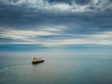 LNG tanker in the sea
