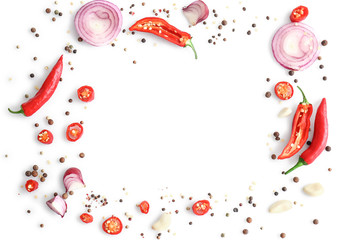 Canvas Prints Hot chili peppers Frame made of different spices on white background