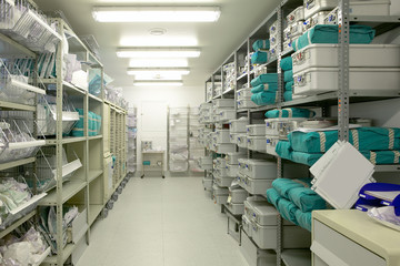 Hospital indoor storage room. Health center repository