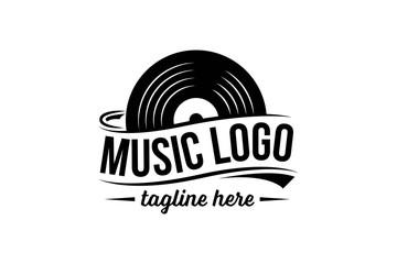 Fototapeta Vinyl record logo template. Vector music icon or emblem. obraz