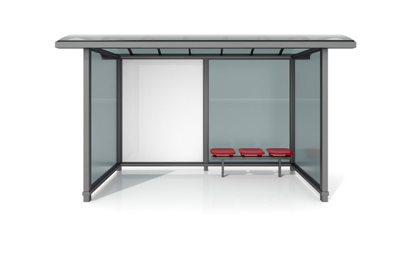 3d illustration of an empty Billboard at a bus stop on the white background.