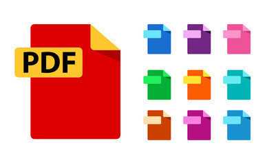 PDF and color templates for any formats. Big Collection of vector icons. File format extensions icons. flat design style.
