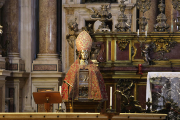 Naples, Italy - September 16, 2019: The Chapel of the Treasure of San Gennaro in the Cathedral of...