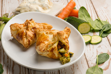 puff pastry filled with gorgonzola cheese asparagus zucchinis and carrots