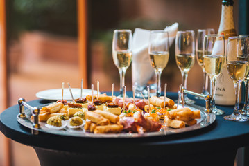 Catering service food and champagne glasses