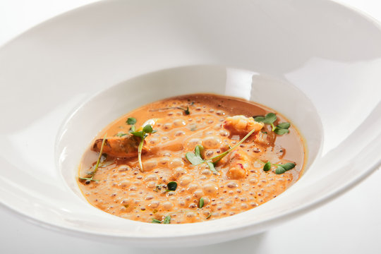 Exquisite Serving Airy Cream Bisque with Seafood