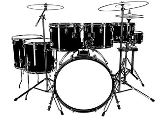 Black and White Drums Drawing - Illustration for Your Graphic Designs, Vector