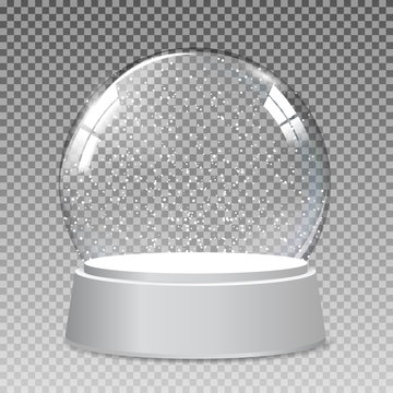 Snow realistic transparent glass globe for Christmas and New Year gift.Vector Illustration