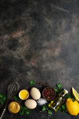 Ingredients for making mayonnaise. Top view with copy space.