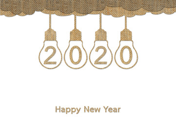 Happy New Year 2020, hanging lightbulb on sky with number