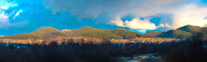 Panoramic view of the Carpathian village. Mikulichin, Ivano-Frankivsk region, Ukraine