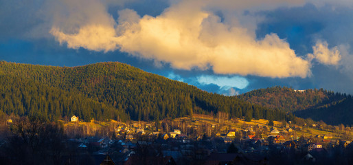 View of the Carpathian village. Mikulichin, Ivano-Frankivsk region, Ukraine