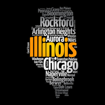 List of cities in Illinois USA state, map silhouette word cloud map concept