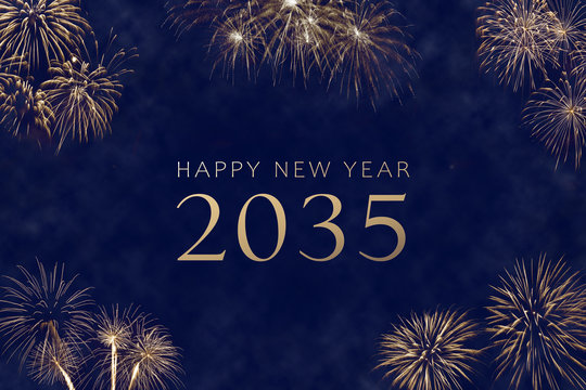 happy new year 2035 greeting card