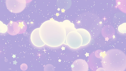 Magic clouds and stars. 3d rendering picture.
