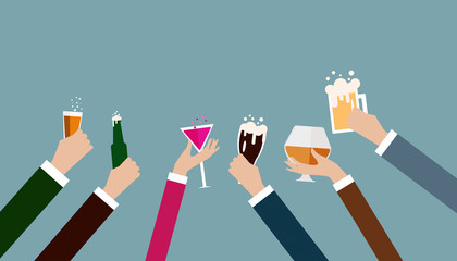 Business hand celebrating party after working,flat illustration  design.