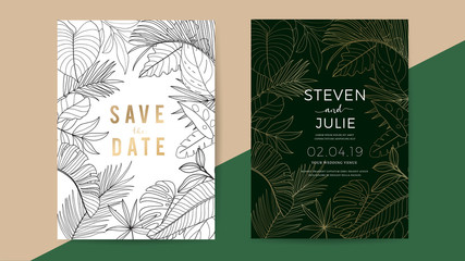 Wall Mural - Luxury wedding invitation cards with gold design texture, modern geometric shape whit tropical leaves, Vector design template for brand identity, invite card, greeting card, brochure and cover