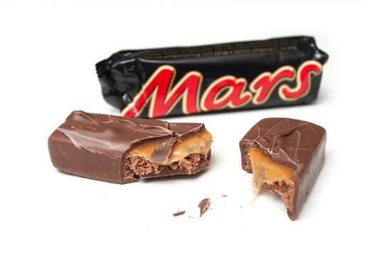 Mulhouse - France - 19 September 2019 - Closeup of Mars Chocolate bar on white background