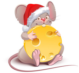 2020 year of rat to Chinese calendar. Santa rat holds big round cheese
