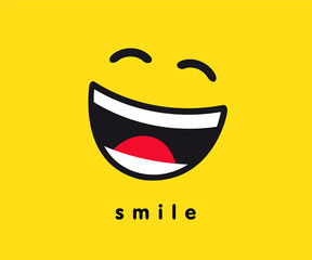 Smile wink icon template design. Smiling emoticon vector logo on yellow background. Emoji joy in line art style illustration. World Smile Day, October 4th banner