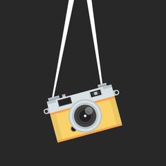 Hanging vintage camera. Vector illustration.