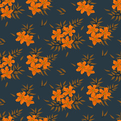 Fashionable pattern in small flowers. Floral seamless background for textiles, fabrics, covers, wallpapers, print, gift wrapping and scrapbooking. Raster copy.