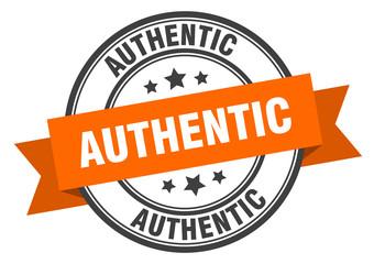 Fototapeta authentic label. authentic orange band sign. authentic obraz
