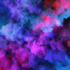 Abstract clouds of color smoke colorful texture background. Colored fluid powder explosion, dust, vape smoke liquid abstract clouds design for poster, banner, web, landing page, cover. 3D illustration