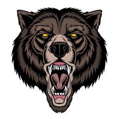 Foto op Canvas Hand getrokken schets van dieren Roaring bear head mascot.