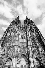 Wall Mural - Cologne cathedral, Germany. Black and white retro style.