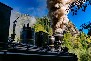Coal wood burning steam locomotive of Mocanita, popular tourist attraction in Maramures, Romania
