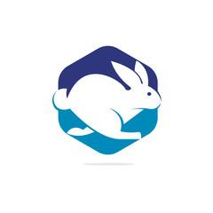 Rabbit vector logo design. Creative running rabbit or bunny logo vector concept element