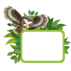 cartoon scene with nature frame and animal flying owl - illustration for children