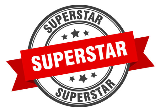 superstar label. superstar red band sign. superstar