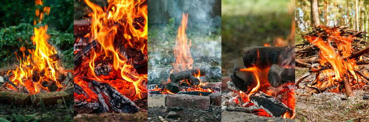 Collage of high quality images of campfire and burning embers