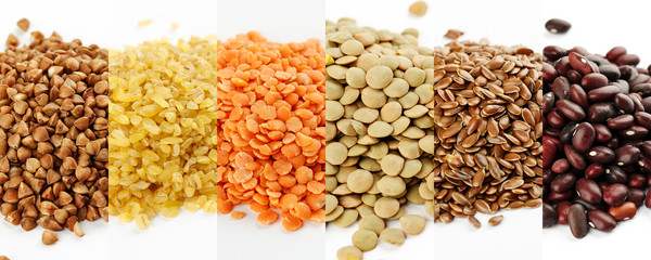 Collage made of high quality images of different legumes and cereals on white