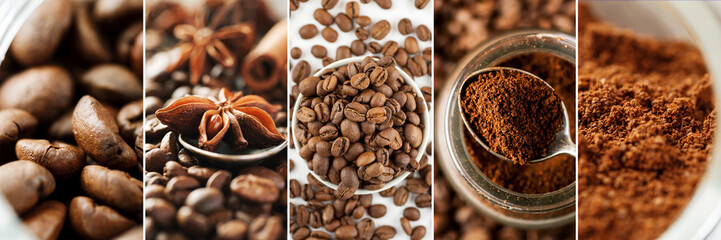 Fotobehang Koffiebonen Collage made of different close-up images of coffee