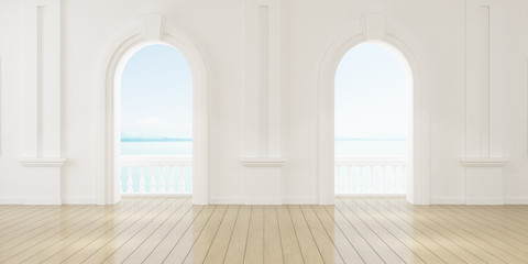 Obraz View of empty room in classic style with arch window design,curve details,The sun light cast shadow on the wood floor on sea view background. 3d rendering. - fototapety do salonu