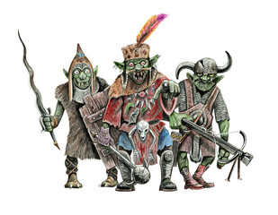 Gang of goblins. Fantasy illustration. Goblin with sword drawing.