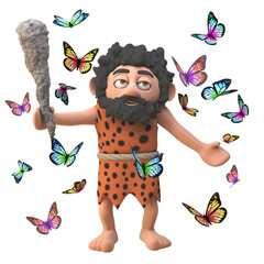 3d cartoon prehistoric caveman character with club surrounded by pretty butterflies, 3d illustration