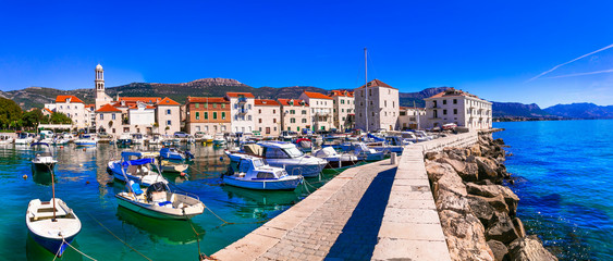 Travel in Croatia. Traditional coastal village Kastela, Kastel Novi with charming harbor