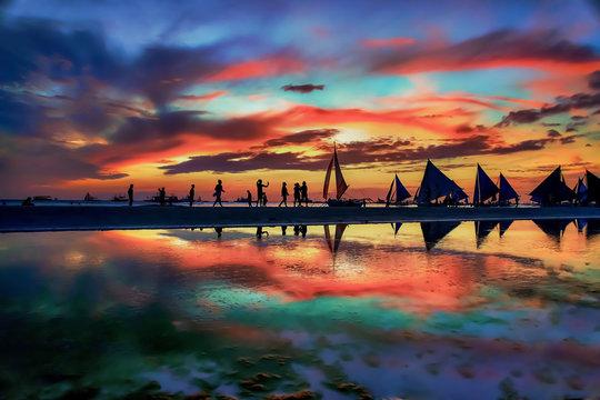 Stunning Boracay Island beach sunset view reflection in Philippines
