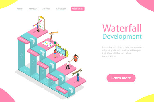 Flat isometric vector landing page template of waterfall methodology, software product development, engineering design approach with steps - requirements, design, implementation, testing, maintenance.