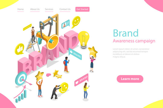 Isometric flat vector landing page template of brand awareness campaign, online branding and marketing, company digital promotion.